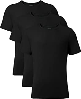 David Archy Men's 3 Pack Bamboo Rayon Undershirts Crew Neck Slim Fit Tees Short Sleeve T-Shirts