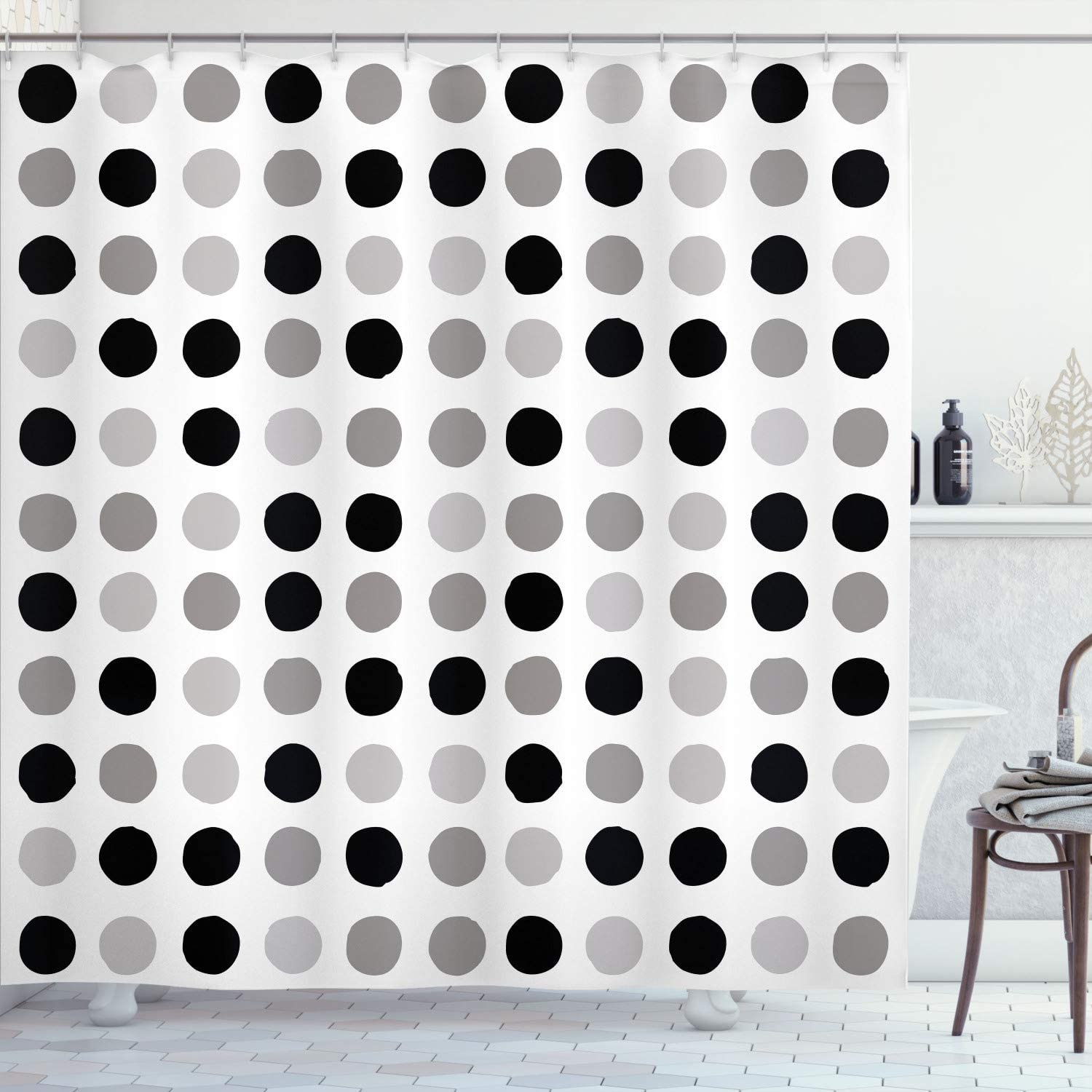 Ambesonne Geometric 誕生日プレゼント Shower Curtain Polka Retro 大注目 Dots Traditional