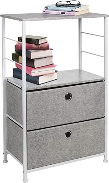 Sorbus Nightstand 2 Drawer Shelf Storage Bedside Furniture Accent End Table Chest For Home Bedroom Office College Dorm Steel Frame Wood Top Easy Pull Fabric Bins Gray