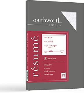 """Southworth 100% Cotton Resume Paper, 8.5"""" x 11, 32 lb/120 gsm , Linen Finish, Blue, 100 Sheets - Packaging May Vary (RD18B..."""
