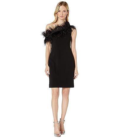 Vince Camuto Sleeveless Asymmetrical One-Shoulder Feather Trim Dress (Rich Black) Women