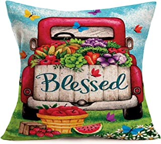 Asamour Pillow Covers Red Truck with Fruits and Vegetables Orchard Farm Decorative Burlap Throw Pillow Cushion Cover Colorful Butterfly Flower Seasons Blessed Pillow Case 18''x18'' for Outdoor Patio