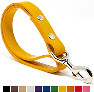 white leather leash