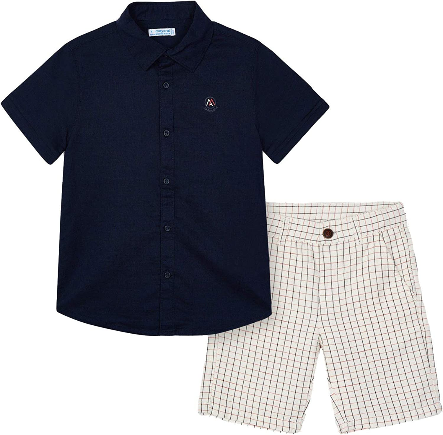 Mayoral - Linen Shirt and Short Set for Boys - 3244, whiteboard