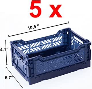 AY-KASA 5 x Collapsible Storage Bin Container Basket Tote, Folding Basket Crate Container : Storage, Kitchen, Houseware Utility Basket Tote Crate Mini-Box (Navy)