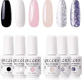 Gellen Gel Nail Polish Set 6 Colors - Classic and Sparkles Series Nail Gel Colors Black White Shimmer Glitters, Long Lasti...