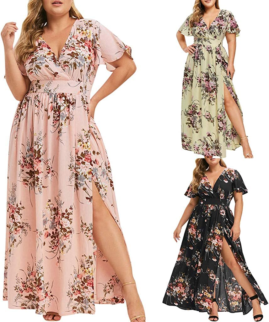 AODONG Dresses for Women Casual,Summer Short Sleeve V Neck Long Maxi Dress Plus Size Party Cami Long Dress