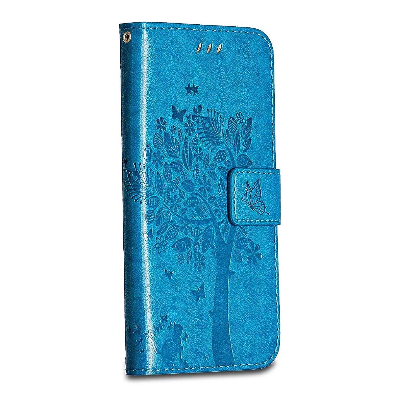 終点フィードオン証明書Galaxy J7 2017 ケース 財布 Bravoday 手帳型 願いの木 猫 Galaxy J7 2017 ケース 財布型 維持しやすい 耐汚れ 手作り高級合皮 高品質 人気 防塵 カード収納 耐衝撃 全面保護 マグネット機能 スタンド機能(青)