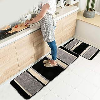 """HEBE Kitchen Rugs 2 Piece Non-Slip Kitchen Mat Rug Rubber Backing Doormat Runner Rug Set Machine Washable 18""""x47""""+18""""x30"""" ..."""