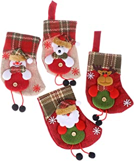 Kayueti Christmas Stocking,Mini Santa Claus Reindeer Snowman Polar Bear Candy Gift Bag Stuffed Christmas Tree Hanging Toys for Christmas Decorations Party Accessory(4 Packs)