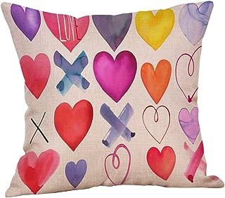 TOPBIGGER 45x45cm Sweet Love Square Cushion Cover Flax Pillow Case Cushion Covers 45cm x 45cm Durable Cotton Linen Throw Pillowcase 18 x 18