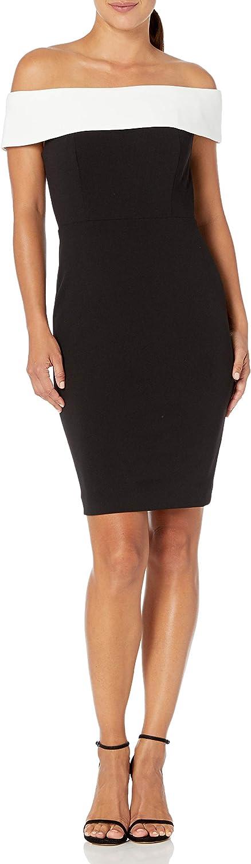 Calvin Klein Women's Bargain security sale Petite Seamed Shoulder Off The Dress