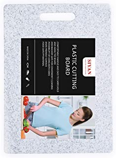 Plastic Marble Cutting Board, Food Safe PP Material, BPA Free, Non-Porous, Dishwasher Safe, Thick Board, Large Size (13.8 x 9.9), Easy Grip Handle,For Kitchen(White)