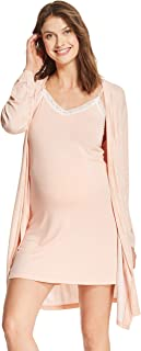 Womens Maternity Lounge Nursing V-Neck Nightgown Matching Belted Robe Pajama Set