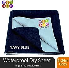 BeyBee Premium Quick Dry Mattress Protector Baby Cot Sheet (Large, Dark Blue)