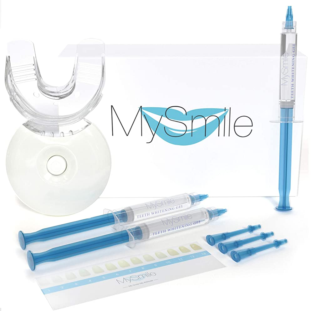 MySmile Teeth Whitening Kit, 15 Mins Express Result, Stain Remover Non Sensitive, Led Accelerator Light, 18% Carbamide Peroxide 3ml Pro Gel, Mouth Tray