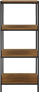 4 Tier Bookshelf by Aaron Furniture Designs Rustic Industrial Bookcase with Modern Open Shelves   Oak Brown Wood Look Accent Furniture Metal Frame   Media Storage Rack Shelf Unit   Living Room