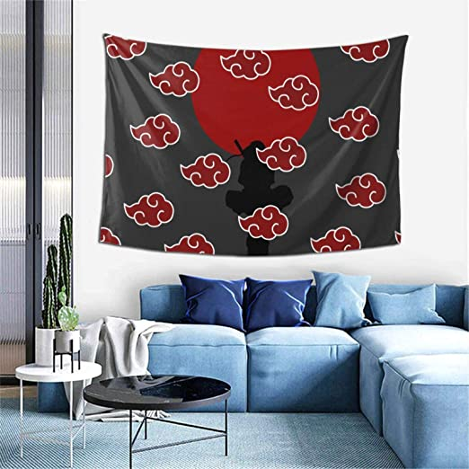 Anime Naruto Akatsuki Cloud Uchiha Itachi Cool Tapestry Wall Hanging for Boy Bedroom Living Room Home Decorations 60 x 40 Inch