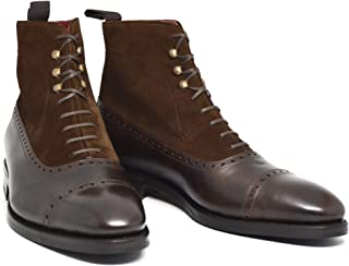 Costoso Italiano Brown Leather & Suede Formal Lace Up Dress Boots for Men