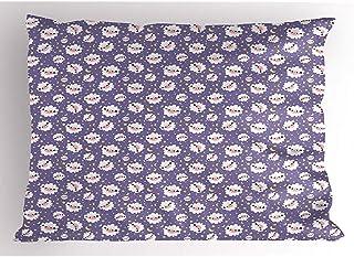 4Pcs 18X18 Inch Funda De Almohada De Oveja,Dibujos Animados Rítmicos De Estrellas Luna Patrón De Colores De Animales Esponjosos,Decoración Para El Hogar Funda De Almohada Impresa Tamaño King Estándar