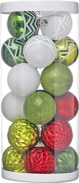 XmasExp 60mm 2 36 Christmas Ball Ornaments Pendants Shatterproof Xmas Tree Ball Set For Christmas Ornaments 24ct Red Green 24Pack