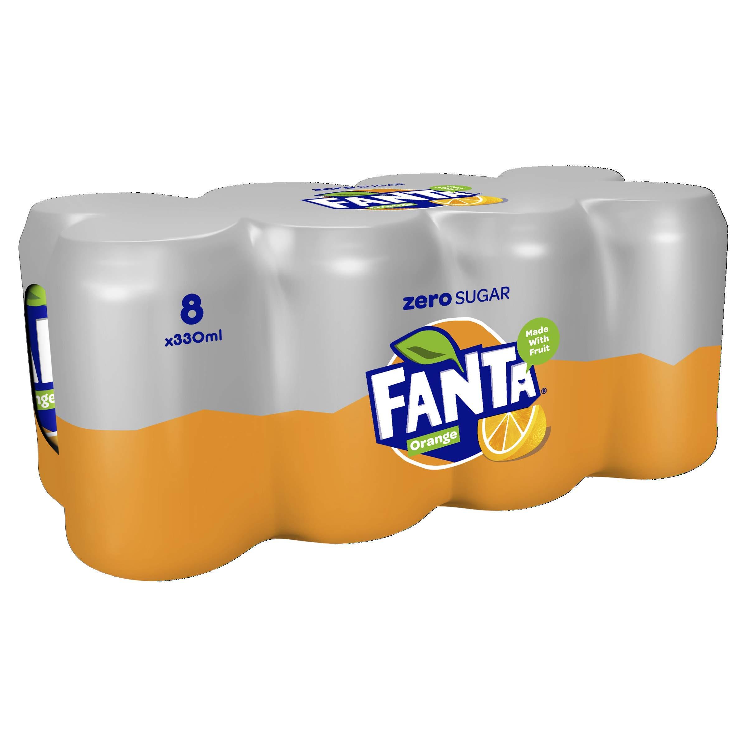 Fanta Orange Zero, 8 x 330ml