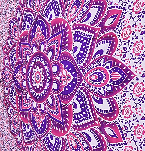 MY DREAM CARTS rosa reina mandala tapiz, colgantes india hippie pared, colgante de bohemia wall, playa colcha colcha banda del arte en tamaño queen (84x90inches) (213x229cms)