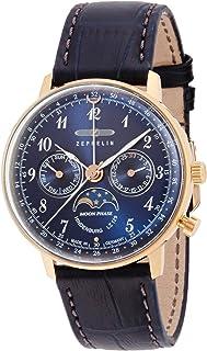 [ツェッペリン]ZEPPELIN 腕時計 ヒンデンブルク ブルー文字盤 ムーンフェイズ表示 デイデイト 70393 メンズ 【正規輸入品】