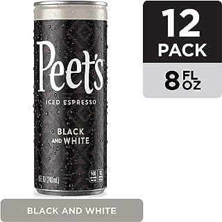 Peet's Iced Espresso Black & White 8 oz, Single Origin Colombian Espresso, Lightly Sweetened, 100 calories, 12 pack