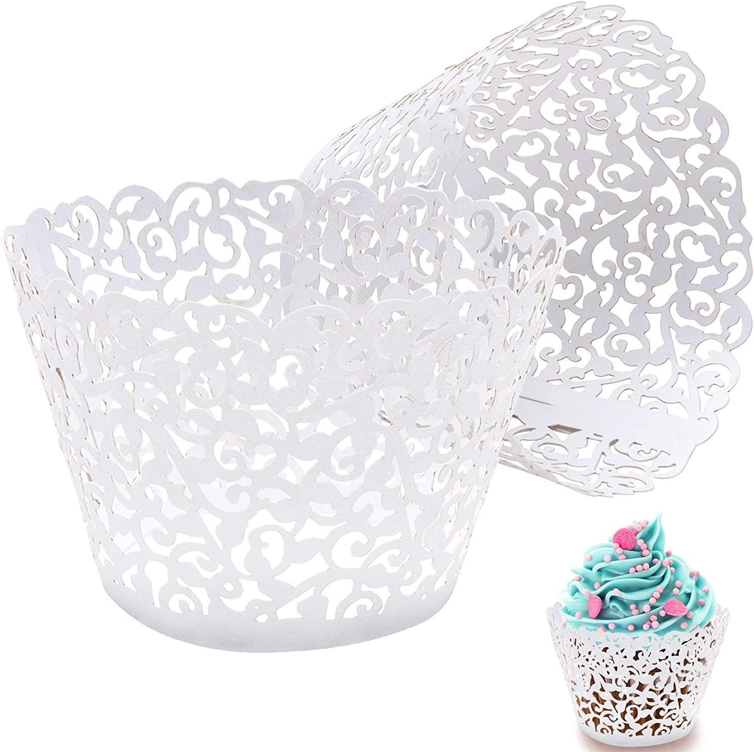 50pcs, pink Cupcake Wrappers Lace Cupcake Liners Laser Cut Cupcake Papers Cupcake Cups Cases for Wedding//Birthday Party Decoration