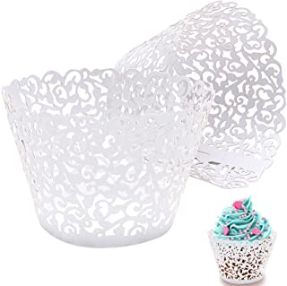 Cupcake Wrappers Lace Cupcake Liners Laser Cut Cupcake Papers Cupcake Cups Cases for Wedding/Birthday Party Decoration (50...