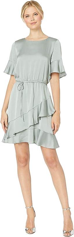 Ruffle Sleeve Hem Drawstring Waist Dress