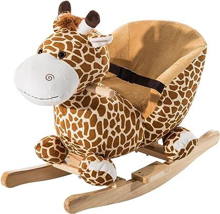 Homcom Jouet à Bascule modèle girafon Ceinture de sécurité Fonction Musicale 32 Pistes Marron Beige