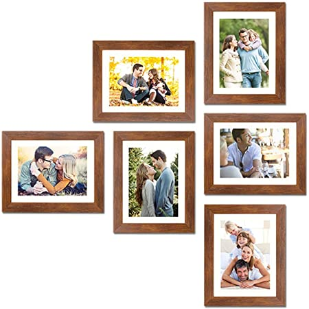 """Art Street Wall Set of 6 Photo Frame with Free Hanging Accessories (8"""" X 10"""" Picture Size matted to 6"""" x 8"""") - Brown"""