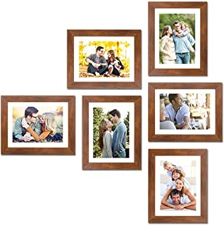 "Art Street Wall Set of 6 Photo Frame with Free Hanging Accessories (8"" X 10"" Picture Size matted to 6"" x 8"") - Brown"
