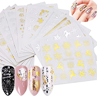 Miss Babe 16pcs Gold Silver Nail Sticker Water Snowflake Tree Deer Pattern for Nail Art Decoration Glitter DIY Decals Manicure Set