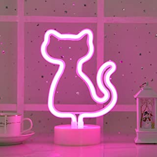 Byncceh Cute Pink cat neon Sign -USB or Battery-Powered -with a Bedside Decorative Table lamp with a Detachable Base, Gift...