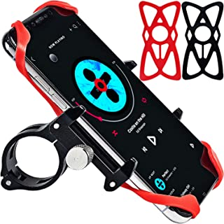 Universal Bike Phone Mount Motorcycle Phone Holder with 2 Adjustable Anti Shake Silicone Strap Fits Most Bicycle Handlebars, Stem Compatible for All Smartphones iPhone X XR 6 7 8 Plus Samsung S9 S8 S7
