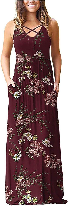MOKINGTOP Women's Summer V-Neck Flag Print Casual Loose Knee-Length Short Sleeve Dress