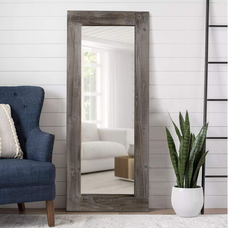 KIAYACI Floor セール Mirror Wood Frame S Distressed Mounted 超激安特価 Wall