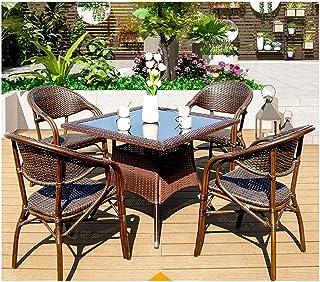 BDBT Hohe Qualität Freizeitmöbel Conservatory Möbel Tischset Couchtisch aus Glas Unterhaltung for Outdoor Garten am Pool (4-teiliges Set Tisch Stuhl)