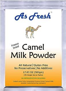 As Fresh Camel Milk Powder 17.6 oz - 25 single serve sachet of 0.7 oz, makes 176 fl oz (Freeze Dried, Gluten Free, No Additives, No Preservatives)