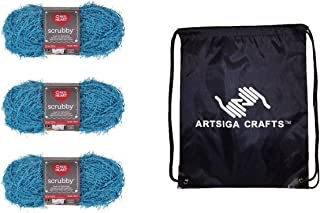 Red Heart Knitting Yarn Scrubby 3-Skein Factory Pack (Same Dyelot) E833 Bundle with 1 Artsiga Crafts Project Bag 3-Pack MP...