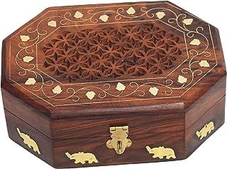 CRAFTCASTLE Handmade Wooden Jewellery Box for Women Jewel Organizer (6 X 4 X 2.4 INCH) , Brown