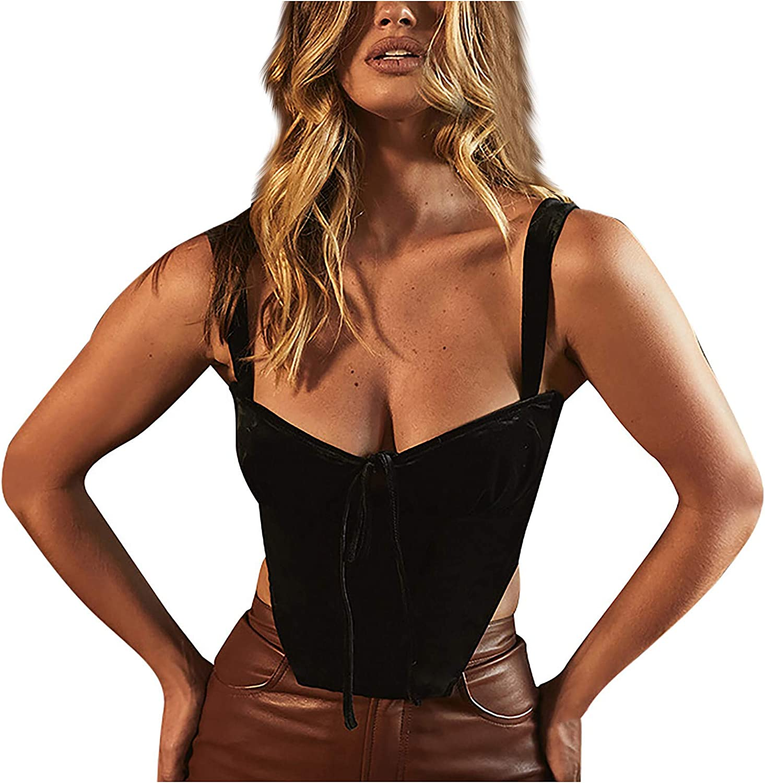 Women Tank Top Fashion Sexy Wave-Collar Sleeveless Corset Crop Top Backless Bandage Vest Casual Streetwear