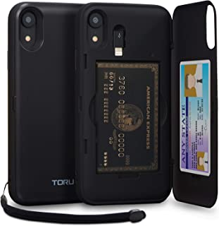 TORU CX PRO iPhone XR Wallet Case Black with Hidden Credit Card Holder ID Slot Hard Cover, Strap, Mirror & Lightning Adapter for Apple iPhone XR (2018) - Matte Black