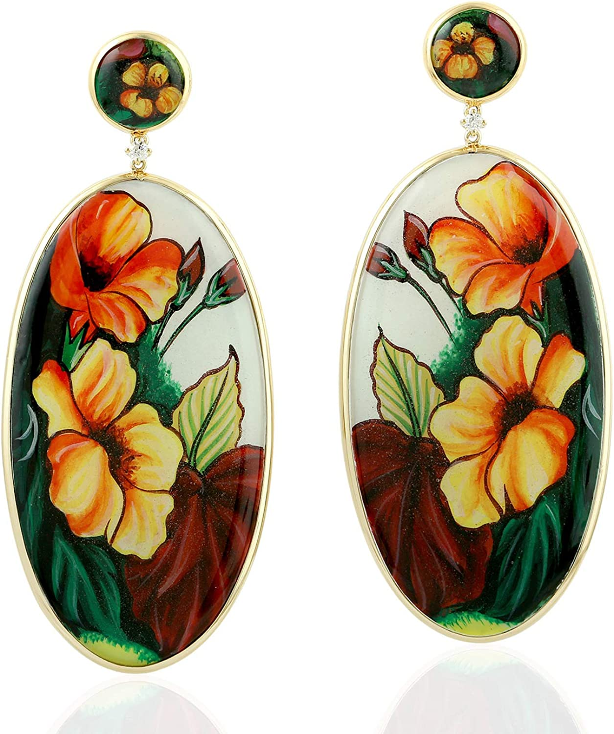 Hand Cheap super special price Painted Bakelite Flower Dangle Dia Studded Natural Los Angeles Mall Earrings