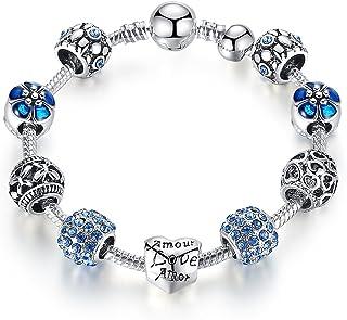 Qings DIY Blue Crystal Beads Bangle Snake Chain Charm Bracelet for Women 18cm