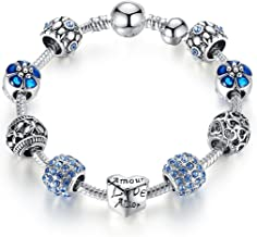 Lovely Blue Charm Beads Pandora Element DIY Bracelet Suitable with Girls and Women all ages Love Gift for Girlfriend and Wife 18cm