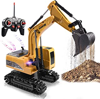 Remote Control Excavator Toy Truck RC Excavator with Metal Shovel Lights Sounds Rechargable Engineering Sand Digger Construction Vehicle Toy Gift for Boys Girls Kids & Children